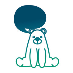 sweet bear teddy sitting with chat bubble vector illustration degraded green color