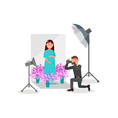 Pregnant woman posing in photo studio, photographer during shooting, white background with flowers, lights and camera vector Illustration