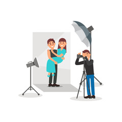 Happy couple in love posing in photo studio, photographer making photos, white background with lights and camera vector Illustration