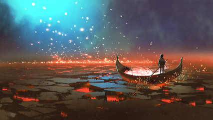 fantasy world scenery showing a boy rowing a boat in the land of volcanic, digital art style, illustration painting