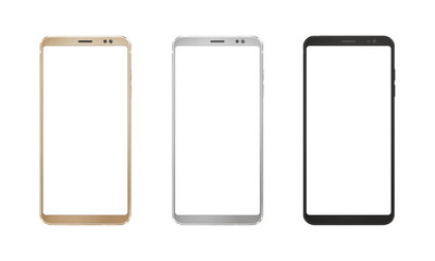 Gold, silver and black smart phone with round edges on isolated white background.