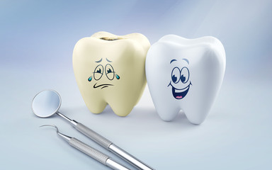 3d render. Teeth smile and crying emotion with dental plaque tool, Concept Dental care cleaning bacterial plaque