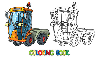 Funny small sweeper car with eyes. Coloring book