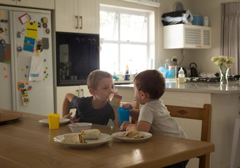 Siblings having breakfast on a dinning table