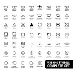 Icon set of laundry symbols, vector illustration print label cloth