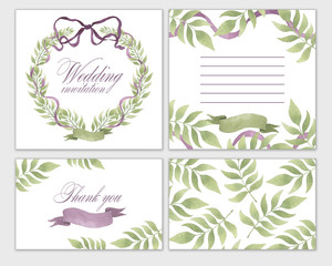 Wedding invitation frame set flowers, leaves, watercolor, isolated on white.