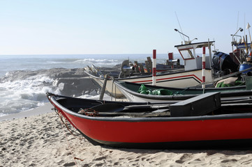 Fischerboote bei Mindelo, Porto, Nordportugal, Portugal, Europa