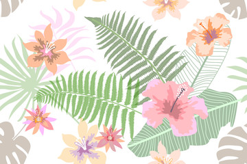 Delicate botanical print with forest ferns, palm leaves and flowers.