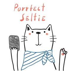 Hand drawn portrait of a cute funny cat in a scarf with a smart phone, taking selfie. Isolated objects on white background. Line drawing. Vector illustration. Design concept for children print.