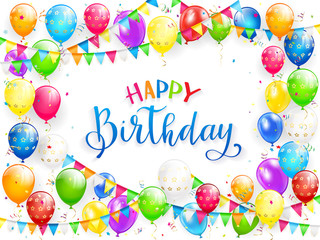 Blue text Happy Birthday with balloons and multicolored confetti on white background