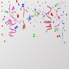 Colorful Confetti And Ribbon Falling On white  Background