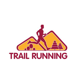 Vector logo silhouette of a runner running forward dynamics power trail marathon