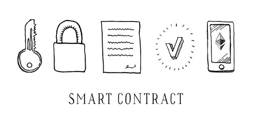 Hand drawn vector sketch cartoon doodle illustration - ethereum smart contract black on white background