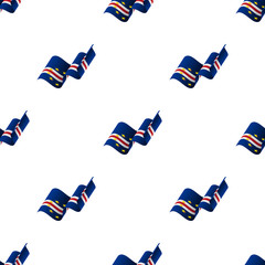 Seamless pattern with waving flag. Cape Verde flag. Vector illustration.