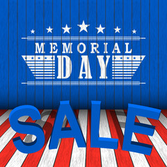 Vector Memorial Day sale with stars and lettering on blue, red and white wooden background . Template for Memorial Day.