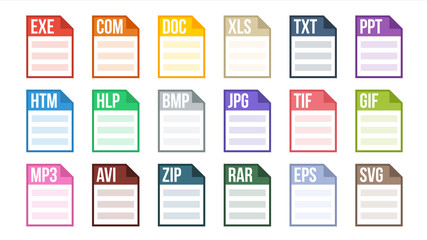 Format File Vector. Various Pictogram File Format Type. Software Label. Flat Isolated Illustration