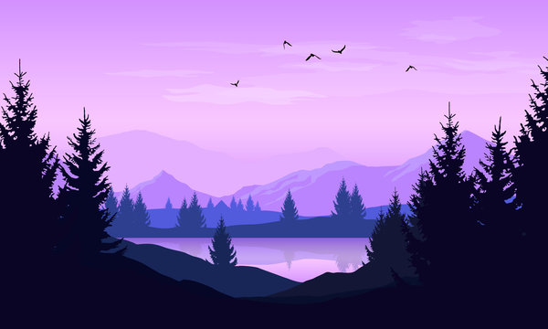Vector cartoon landscape with purple silhouettes of trees, mountains and lake