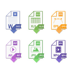 File format. Flat design. Icon set. File extension icons