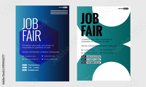 job fair poster template with time date venue and ticket purchase