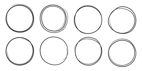 Hand drawn scribble circles set. Doodle ink sketch round note design elements