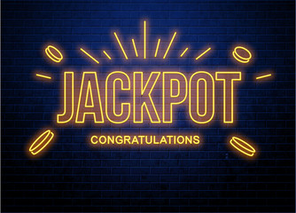 jackpot neon glowing sign