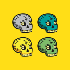 Colored skulls in a modern style