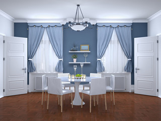dining area in the interior. 3d illustration