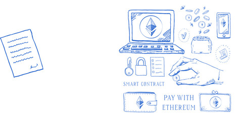 Hand drawn vector sketch cartoon doodle ethereum crypto currency set with hand and coin blue on white background