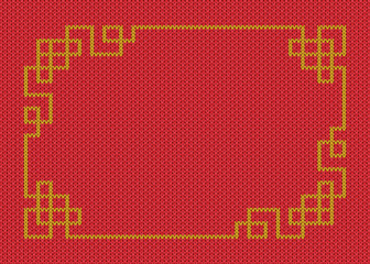 Chinese gold frame on knited red background