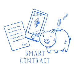 Hand drawn vector sketch cartoon doodle smart contract ethereum illustration with money box blue on white background