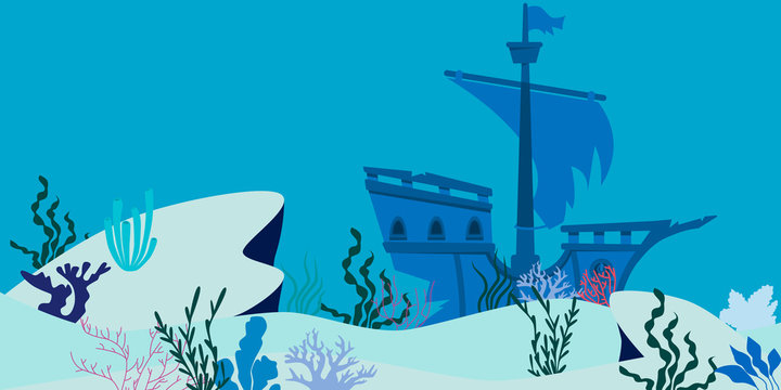 Blue underwater landscape with sunken ship. Flat design. Vector illustration