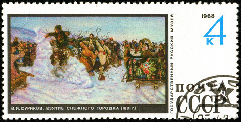 Ukraine - circa 2018: A postage stamp printed in USSR show painting by Surikov Conquering a Snow Town. Series: Paintings from Russian Museum in Leningrad. Circa 1968.