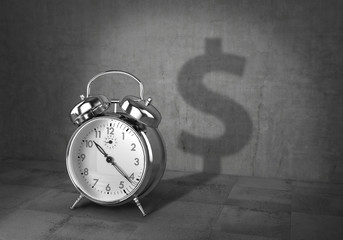 Business concept. Time - money. Clock cast shadow in form of money sign. 3d illustration