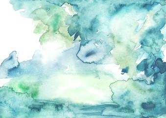 Watercolor blue, green background, blot, blob, splash of blue, green paint on white background. Watercolor blue, green sky, spot, abstraction. Abstract art illustration, scenic background