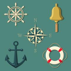 Ship's wheel bell compass anchor lifebuoy in colour