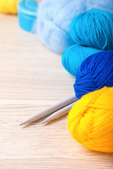 Threads for knitting. Selective focus. Copy space. Frame