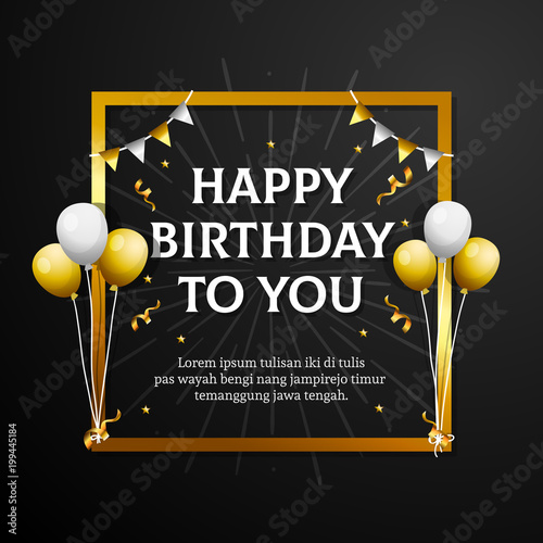 Hy Birthday To You Greeting Card Elegant Professional Banner Template