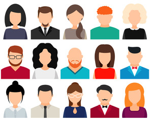 Men and women avatars without face, icon set. Vector illustration.