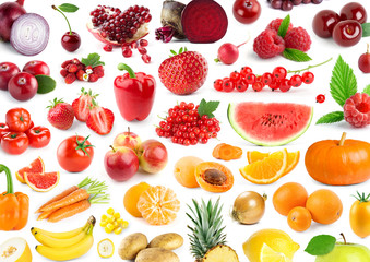 Fruits and vegetables. Background of fresh color  food