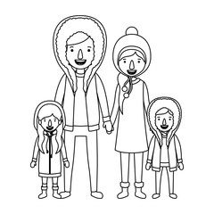 family parents and childrens with winter clothes