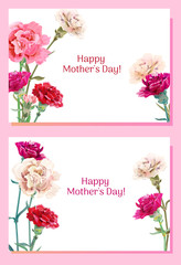 Set of templates for Mother's Day: carnation schabaud: red, pink, white flowers, green leaves, horizontal frame, white background, hand draw, vintage botanical illustration, vector, A4