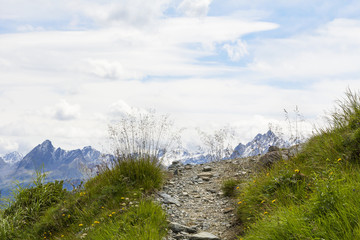 Hiking trail in the high Alps, Austria.