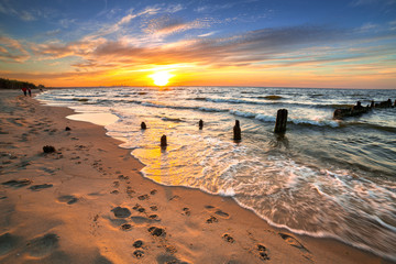 Sunset ovet the Baltic sea beach in Poland Wall mural