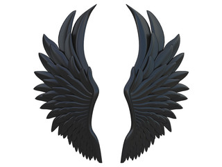 black angel wings isolated on a white background 3d rendering