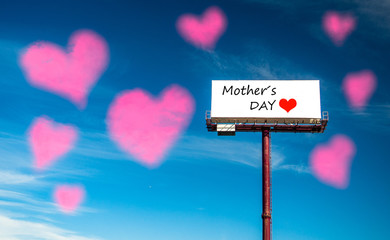 Mother's day poster with hearts