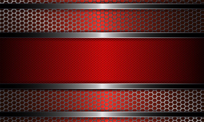 Design with metal grille and frame in red.