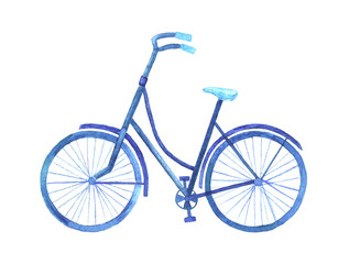 Watercolor bike. Monochrome illustration in blue.