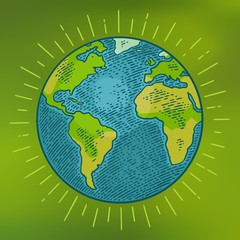Earth planet. Vector color illustration isolated on green mesh gradient