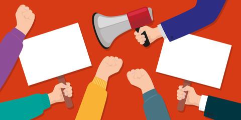 manifestant - syndicat - grève - mégaphone - porte voix - pancarte - protestation - protester