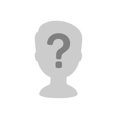 Male profile silhouette with question mark. Anonymous icon, incognito sign, unknown person. Vector illustration isolated on white background